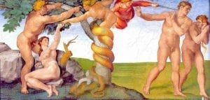 Michelangelo painting of the temptation of Adam