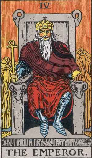 The Emperor tarot card in the Rider Waite Smith Deck