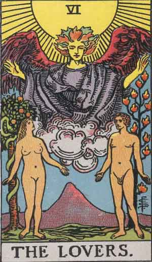 The Lovers tarot card in the Rider Waite Smith Deck