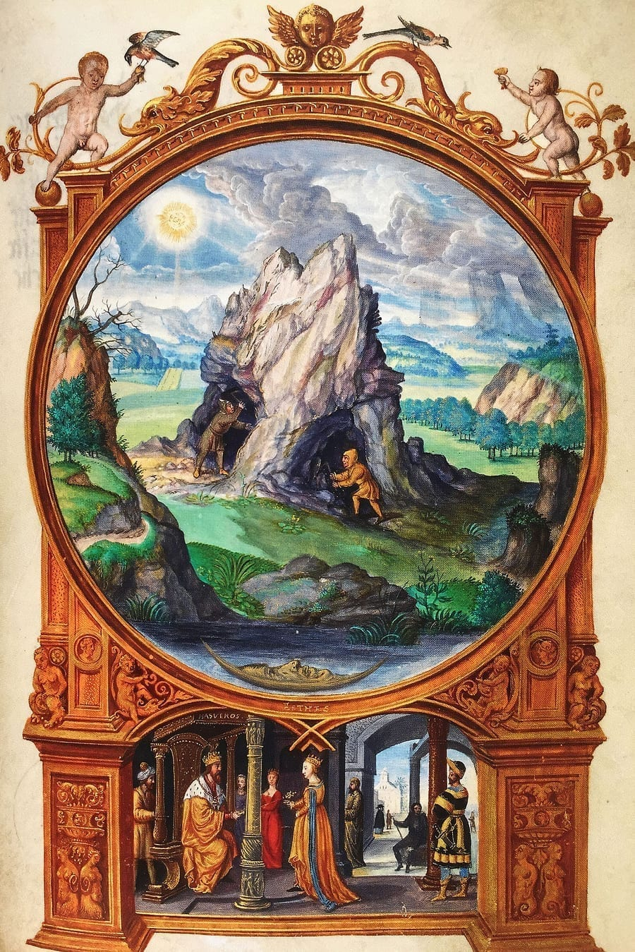 Illustration of Mining the Ore from the Alchemical manuscript Splendor Solis