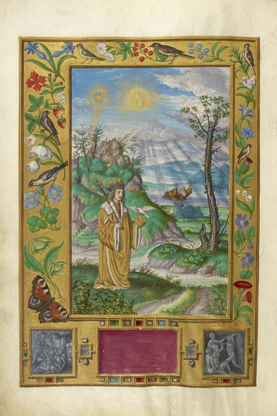 Illustration of drowning king from the Alchemical manuscript Splendor Solis