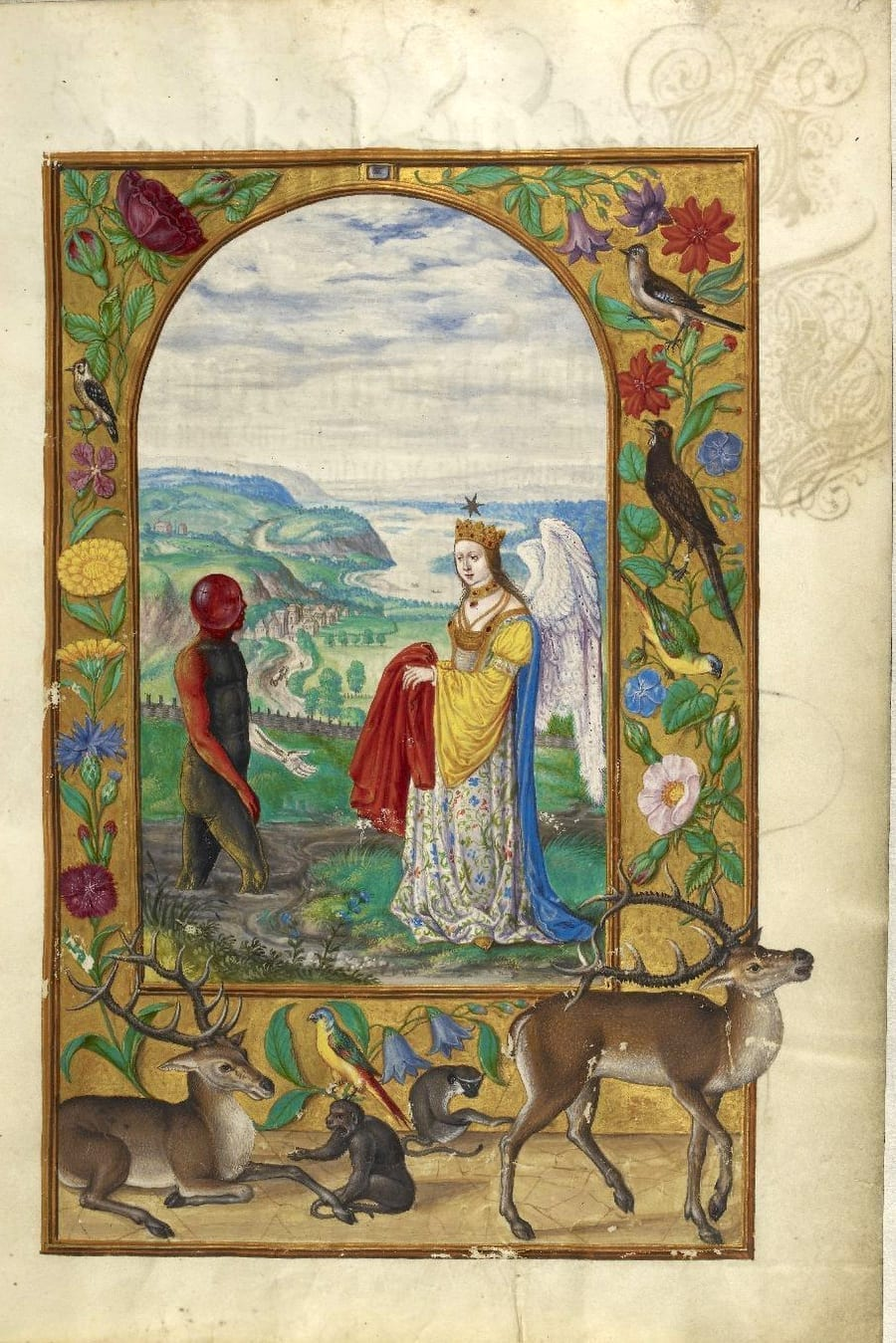 Illustration of winged queen from the Alchemical manuscript Splendor Solis