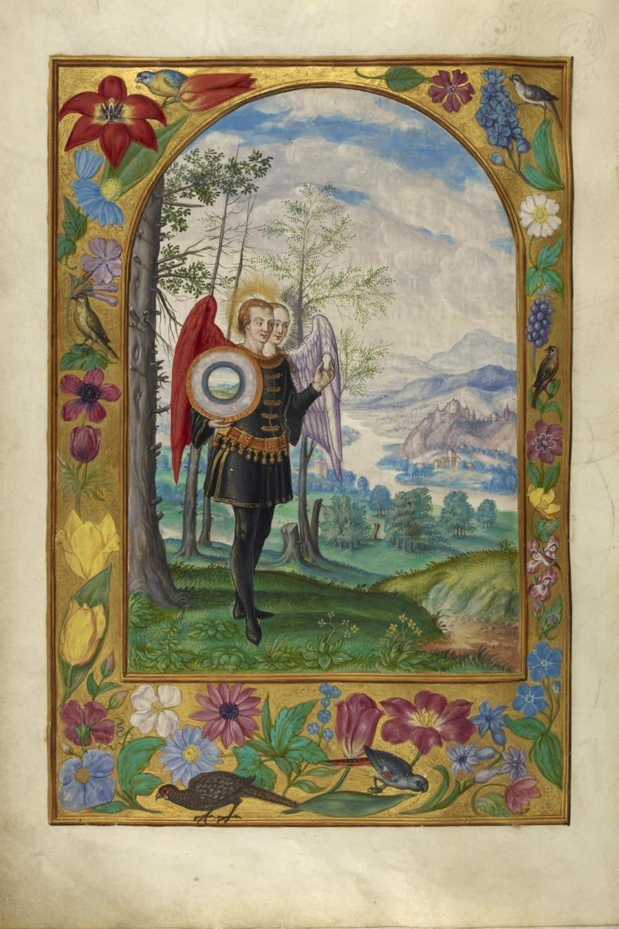 Illustration of two-headed winged figure from the Alchemical manuscript Splendor Solis