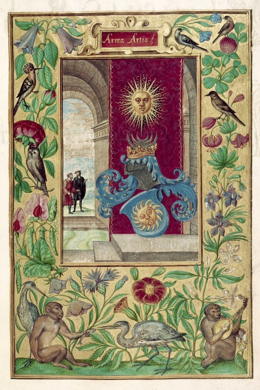 Illustration of two men conversing from the Alchemical manuscript Splendor Solis