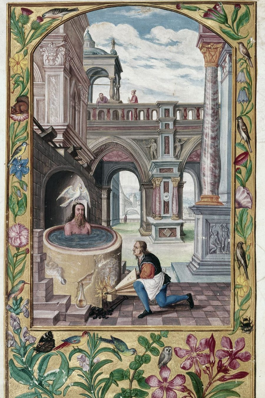 Illustration of a man bathing from the Alchemical manuscript Splendor Solis