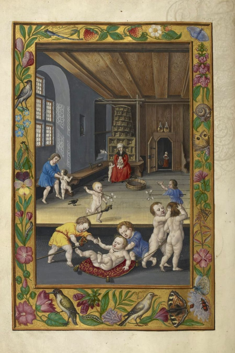 Illustration of children at play from the Alchemical manuscript Splendor Solis