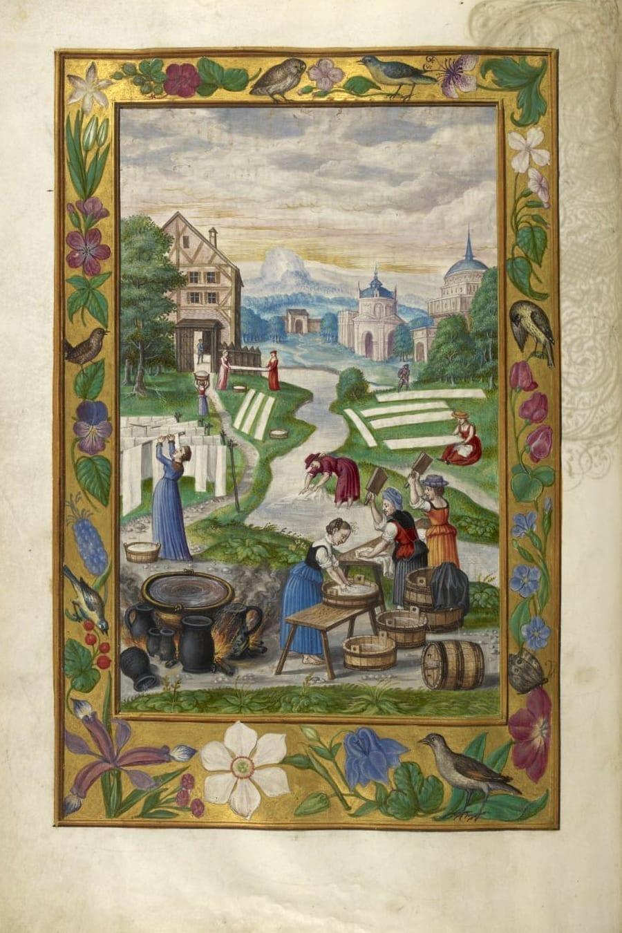 Illustration of women washing clothes from the Alchemical manuscript Splendor Solis