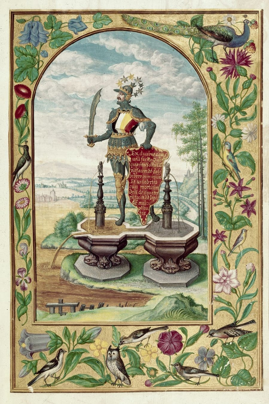 Illustration of knight with a drawn sword from the Alchemical manuscript Splendor Solis